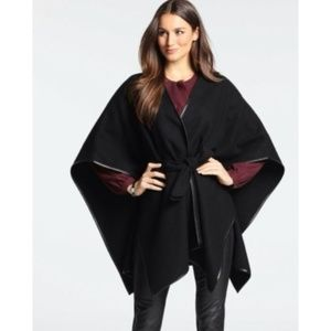 Ann Taylor Faux Leather Trimmed Belted Wool Cape